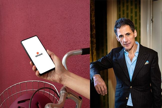 telefonskärm med storytels logotyp, och författaren david lagercrantz