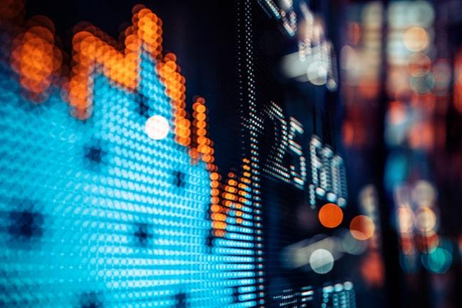 skärm med börsresultat