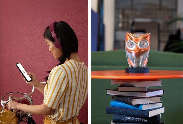 kvinna står vid cykel med storytels app på mobilen på bild nummer 1, stora ljudbokspriset ovanpå en trave böcker på bild nummer 2