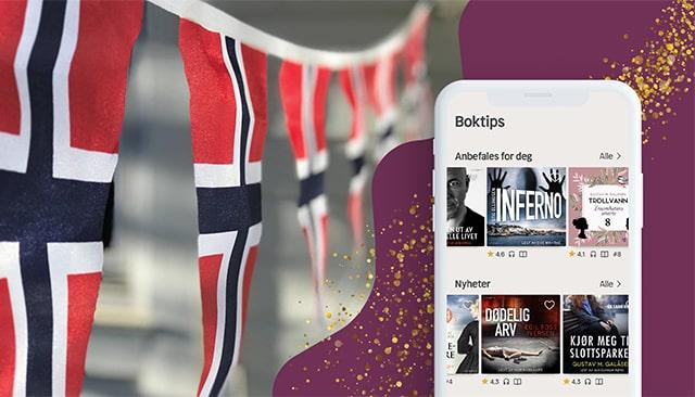 norska vimplar i ena hörnet och mobil med nextorys norska på andra sidan