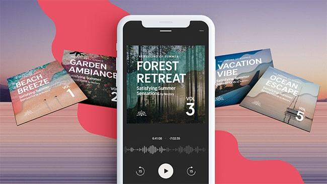 Mobil i förgrunden med Nextorys nya ljudboksserie på skärmen och i bakgrunden.